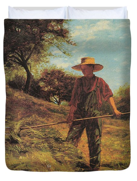 Haymaking Duvet Cover by Winslow Homer