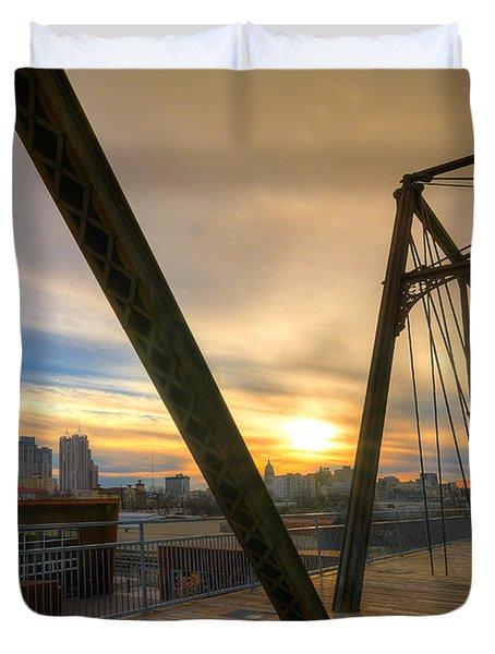 Hays Street Bridge At Sunset Duvet Cover