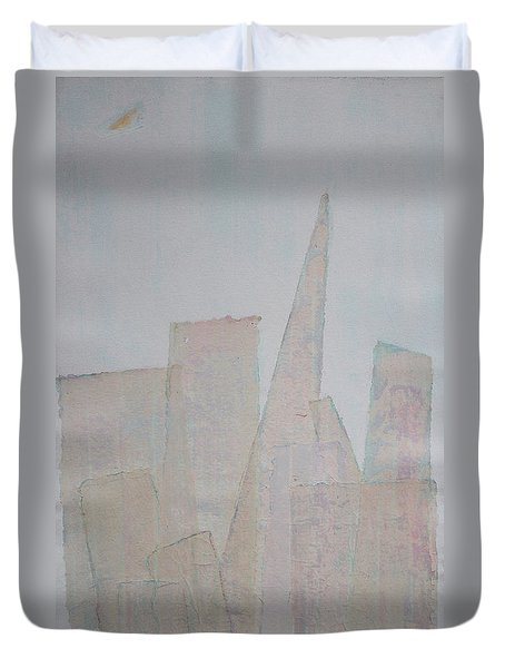 Hazy Fog Clearing Over San Francisco Duvet Cover