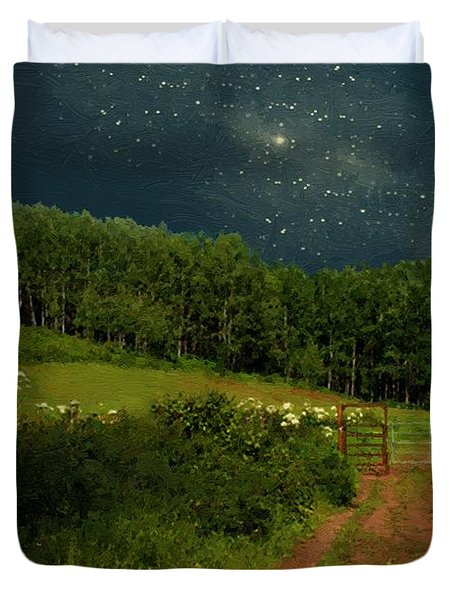 Hazy Moon Meadow Duvet Cover by RC deWinter