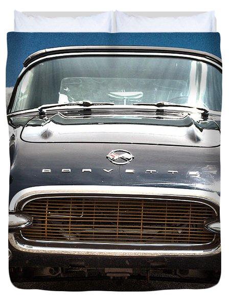 Hdr Vintage Chevrolet Corvette Frontal Duvet Cover by Lesa Fine