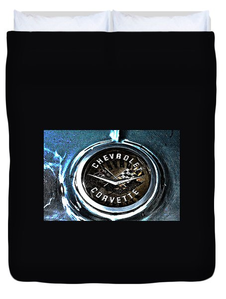 Duvet Cover featuring the photograph Hdr Vintage Corvette Emblem Art by Lesa Fine