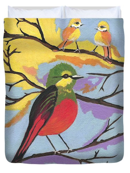 Duvet Cover featuring the painting He Aint That Tweet by Kathleen Sartoris