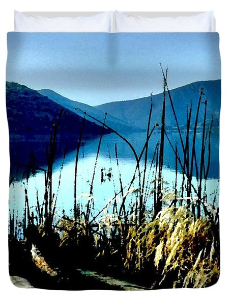 He Leads Me Beside Still Waters Duvet Cover by Sharon Soberon