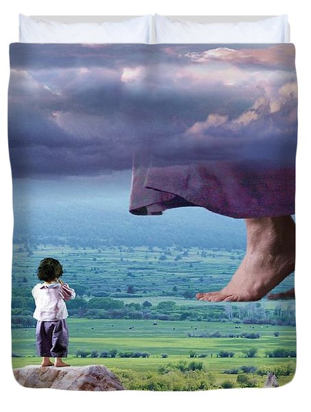 He Still Walks Here Duvet Cover
