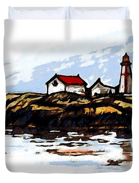 Head Harbour Lighthouse - Field Sketch Duvet Cover