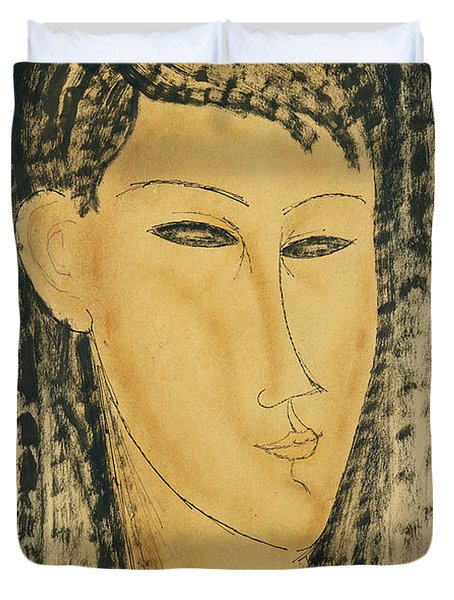 Head Of A Young Women Duvet Cover by Amedeo Modigliani