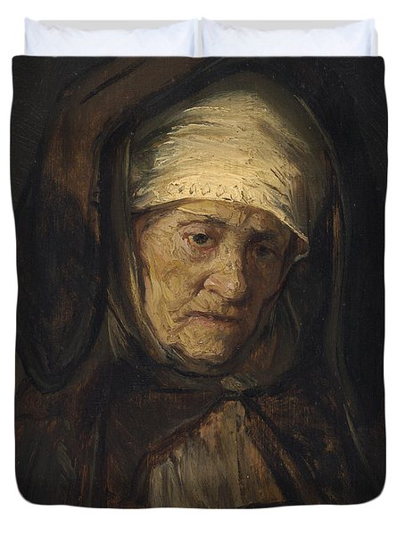 Head Of An Aged Woman Duvet Cover