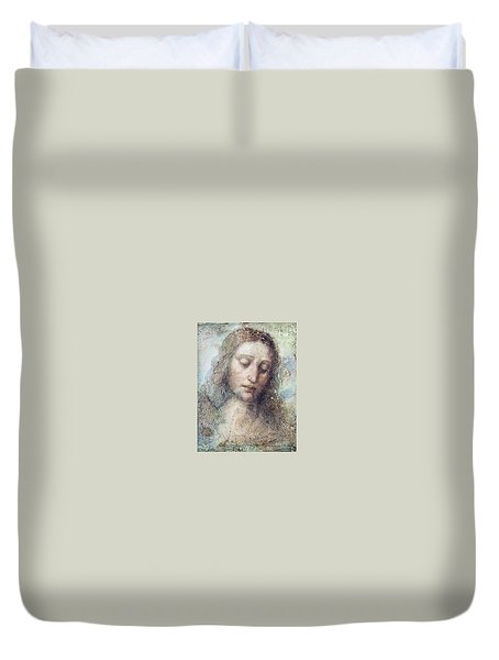 Duvet Cover featuring the drawing Head Of Christ Restoration Art Work by Karon Melillo DeVega