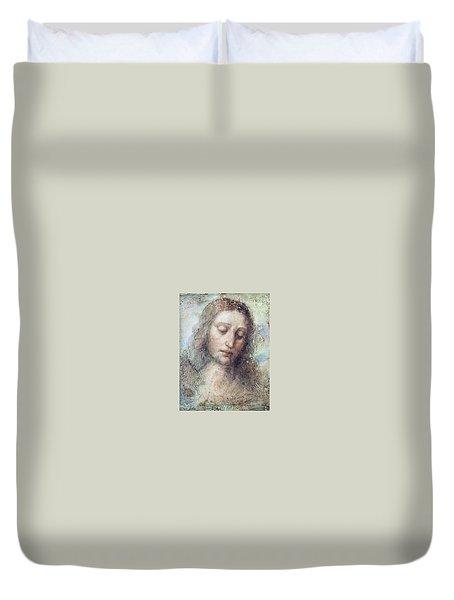 Head Of Christ Restoration Art Work Duvet Cover by Karon Melillo DeVega