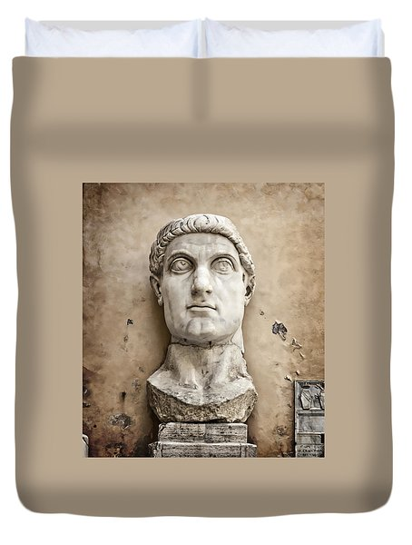 Head Of Constantine Duvet Cover by Joan Carroll