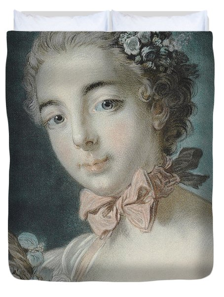 Head Of Flora Duvet Cover by Francois Boucher