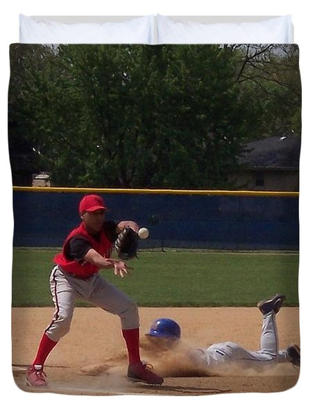 Head Slide In Baseball Duvet Cover by Thomas Woolworth