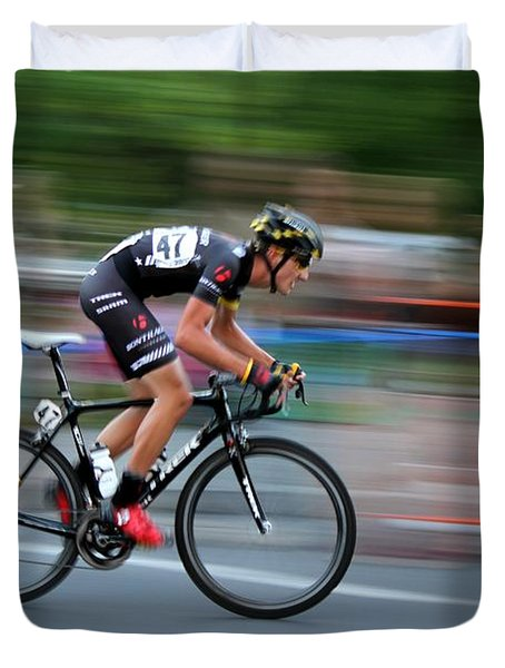 Duvet Cover featuring the photograph Heading For The Finish Line by Kevin Desrosiers