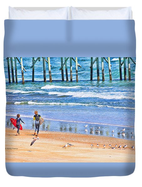 Duvet Cover featuring the photograph Heading Out by Kenny Francis