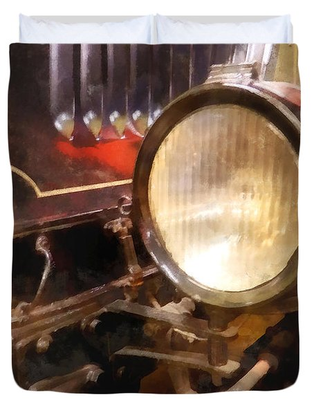 Headlight From 1917 Truck Duvet Cover by Susan Savad