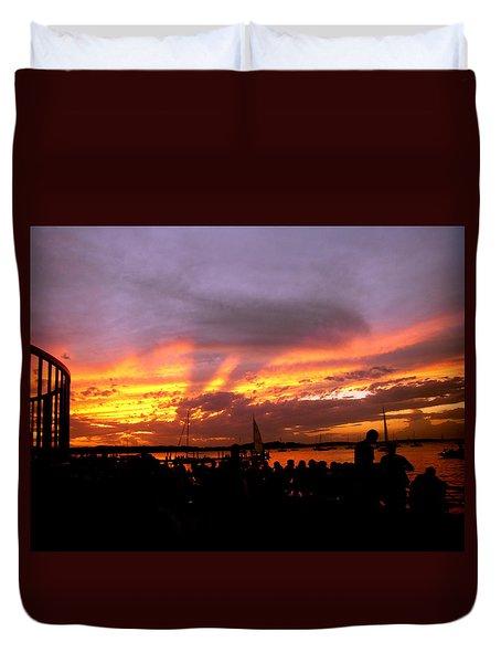 Headlights Of Sunset Duvet Cover