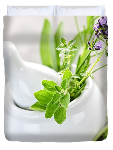 Healing Herbs In Mortar And Pestle Duvet Cover by Elena Elisseeva