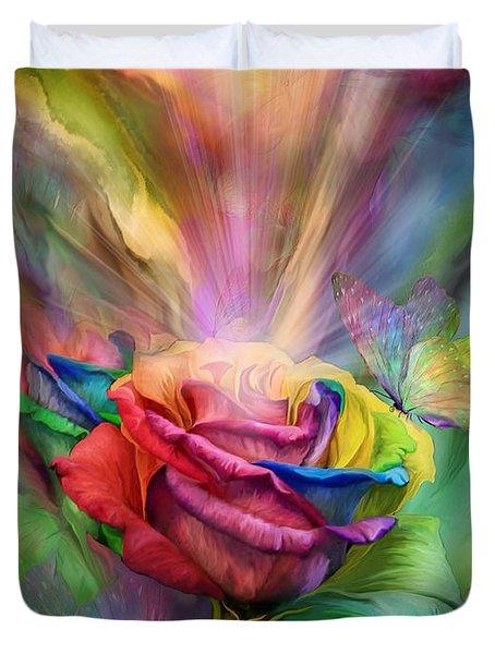 Healing Rose Duvet Cover by Carol Cavalaris