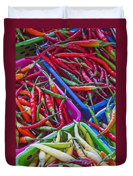 Healthy Chili Peppers Duvet Cover