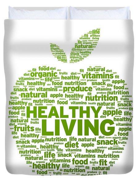 Healthy Living Apple Illustration Duvet Cover