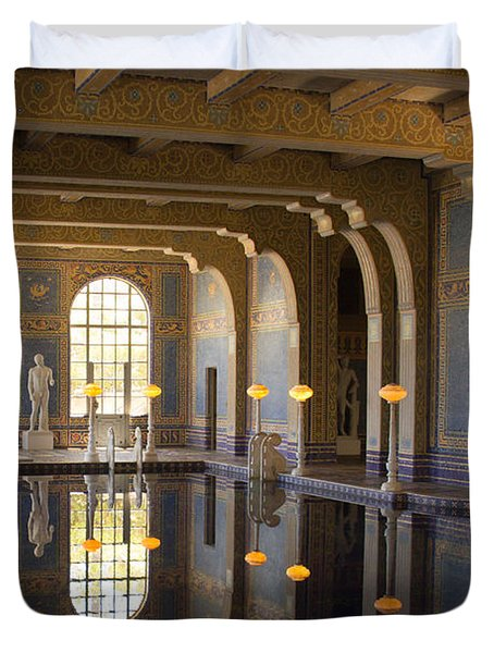 Hearst Castle Roman Pool Reflection Duvet Cover by Heidi Smith