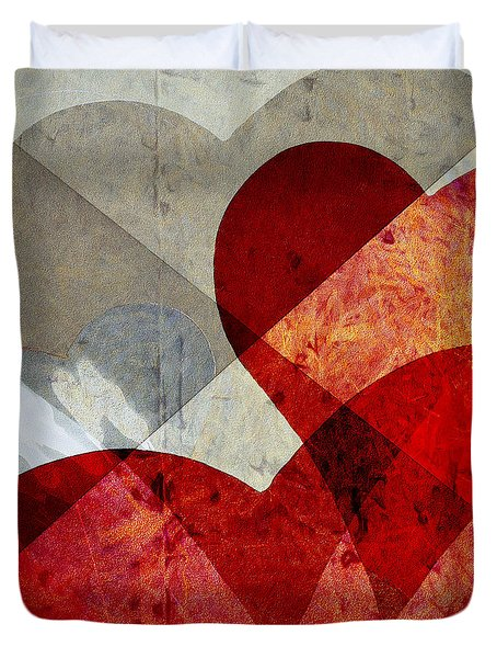 Hearts 8 Square Duvet Cover by Edward Fielding