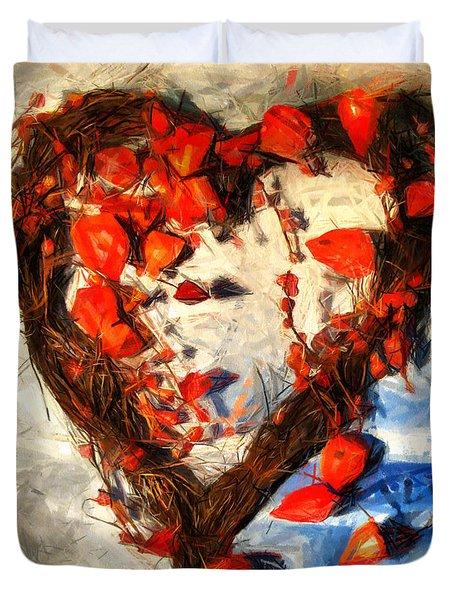 Heart And Flowers Duvet Cover