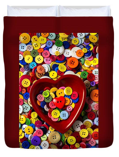 Heart Bowl With Buttons Duvet Cover by Garry Gay