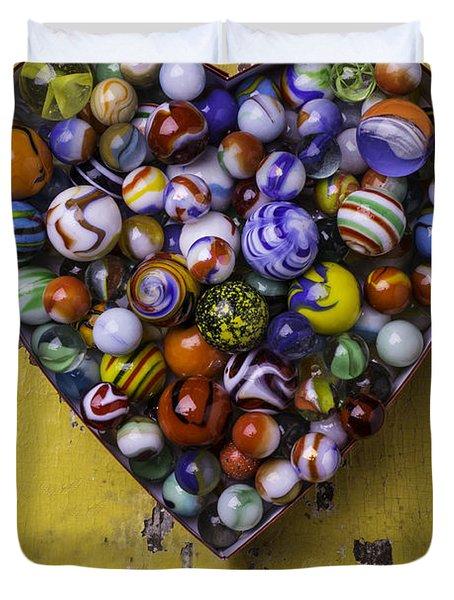 Heart Box Full Of Marbles Duvet Cover