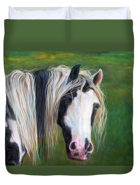 Duvet Cover featuring the painting Heart by Karen Kennedy Chatham