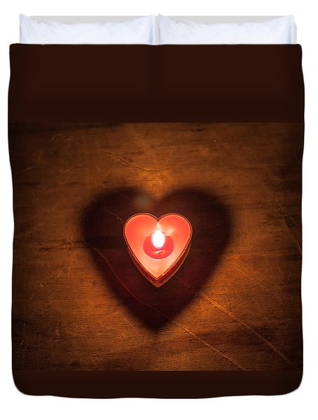 Duvet Cover featuring the photograph Heart Light by Aaron Aldrich