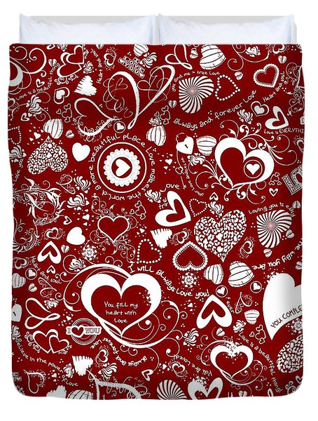 Heart Love Doodles Duvet Cover