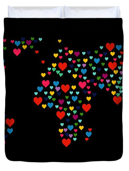 Heart Map  Duvet Cover by Mark Ashkenazi
