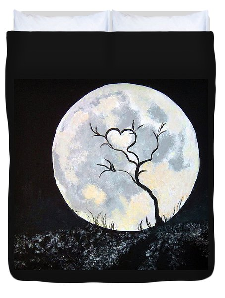 Heart Moon And Tree Duvet Cover