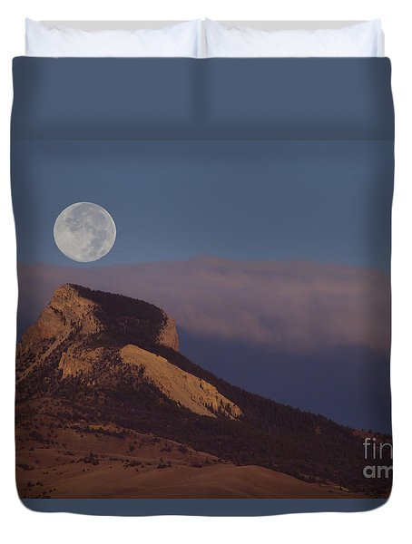 Heart Mountain And Full Moon-signed-#0325 Duvet Cover by J L Woody Wooden