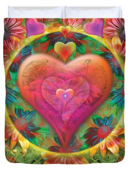 Heart Of Flowers Duvet Cover by Alixandra Mullins