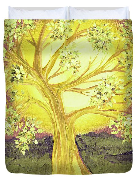 Heart Of Gold Tree By Jrr Duvet Cover by First Star Art