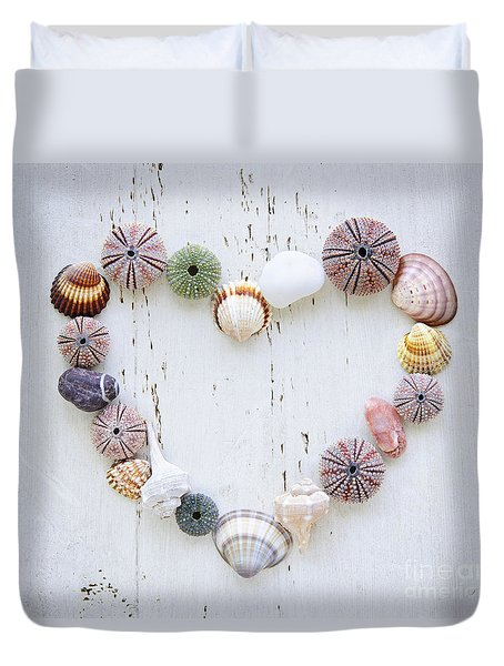 Heart Of Seashells And Rocks Duvet Cover