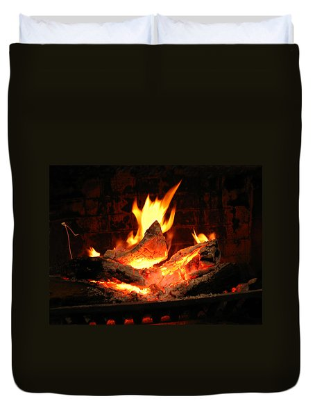 Heart-shaped Ember In Roaring Fire Duvet Cover by Connie Fox