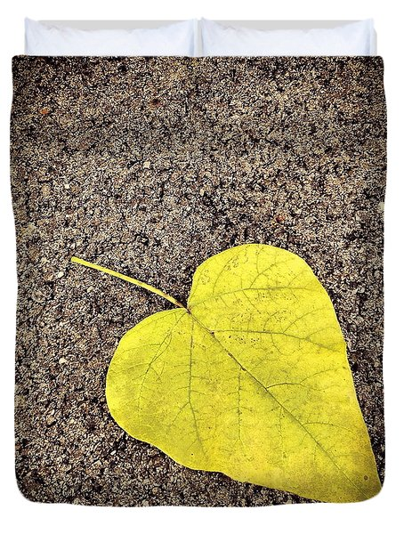 Heart Shaped Leaf On Pavement Duvet Cover