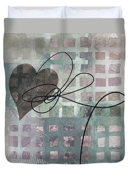 Heart String Abstract- Art  Duvet Cover