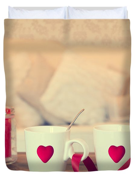 Heart Teacups Duvet Cover by Amanda Elwell