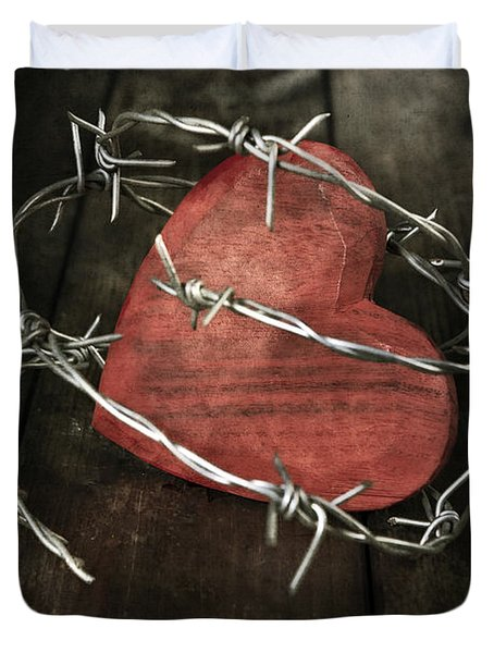 Heart With Barbed Wire Duvet Cover by Joana Kruse