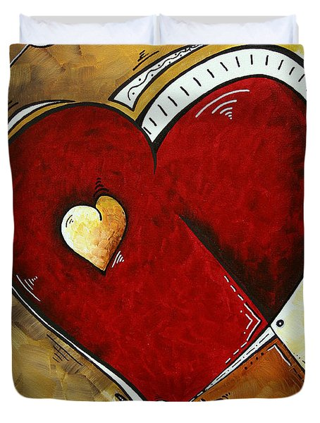 Heartbeat By Madart Duvet Cover by Megan Duncanson