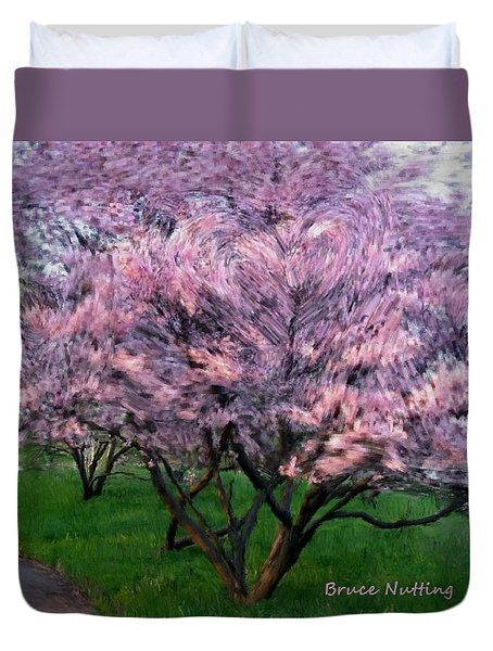 Duvet Cover featuring the painting Heartfelt Cherry Blossoms by Bruce Nutting