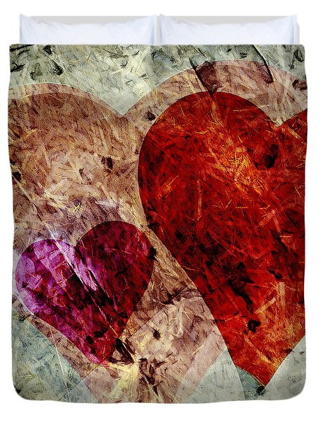 Hearts 10 Square Duvet Cover by Edward Fielding