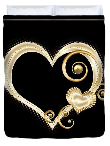 Hearts In Gold And Ivory On Black Duvet Cover