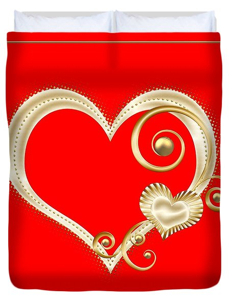 Hearts In Gold And Ivory On Red Duvet Cover