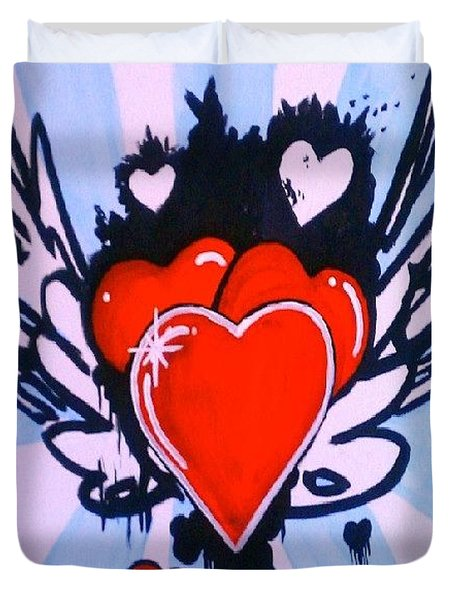 Duvet Cover featuring the painting Hearts by Marisela Mungia